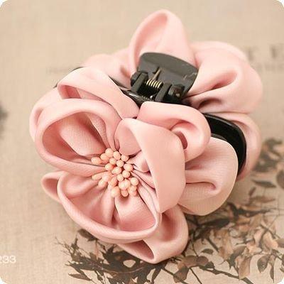 Silk Big Flower garra cabelo da flor com estame pistilo clipe garra para cabelo bonito Chiffon flor para mulheres New(China (Mainland))