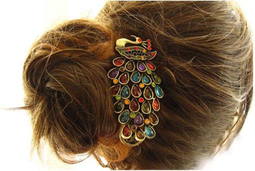 Colorful retro clip rhinestone crystal peacock hairpin hairpin(China (Mainland))