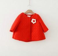 Free shipping 2014 winter girls flower cotton jacket girls wool winter coats wholesales