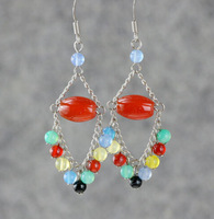 2014 Free Shipping 20 Pair Wholesale Fashion Vintage Colorful Crystal Bead Charms Dangle Earrings 925 For Woman Jewelry DIY L196