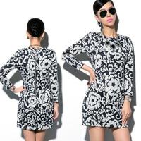 New 2014 spring autumn women dress fashion print short  vestidos casual free shipping Women's Clothing