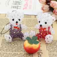 Diy handmade beaded crystal mobile phone pendant bear doll 4mm bead tip