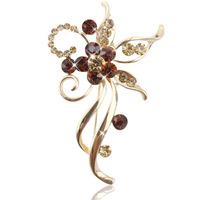 Luxury fashion diamond jewelry brooch sweet wild flower corsage vintage brooch wholesale