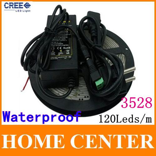 Waterproof 5M 3528 600Leds Led Strips light 120Leds/m Warm White Blue Red Green Yello
