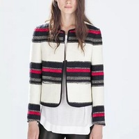 New Fashion Ladies' Vintage colored striped print jacket coat long sleeve outwear non-button casual slim brand design tops