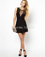 Wholesale Black Colour Women's HL Bandage Dress Sleeveless Sexy Mesh Mini Dress Formal Dress High Quality