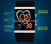 4pcs/lot SKMEI LED Digital Sweet Hearts Screen Women LED Watch Candy Color Rubber Jelly Wristwatch Gift Clock 30M Waterproof