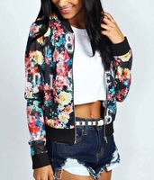 New Fashion Ladies' floral letters print breathable mesh Jacket coats casual slim zipper outwear long sleeve brand tops