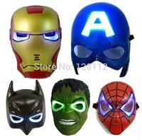 LED Glowing Party Masquerade Masks:The Hulk,Captain America,Batman,Spiderman,iron man mask,Birthday Halloween Christmas Gift