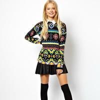 Fashion casual multicolour 2014 hot sale national geometry Pattern loose sweater female warm