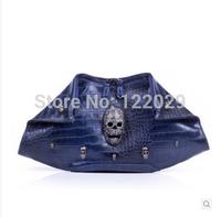 Free shipping 2015 fashion personality aligator clutch bag kull Rivet evening bags 0.9kg colors chian shoulder bags