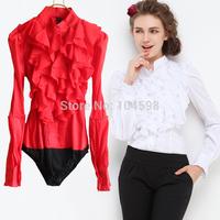 autumn new style OL lantern Sleeve office lady Occupation body shirt blouse Free shipping wholesale cheap bodysuits shirt vciv16