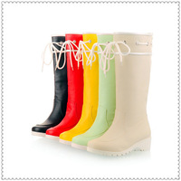 FREE  SHIPPING 2014 new arrival  autumn winter rain  boots autumn boots shoes woman  black,beige,green,red,yellow US size 4-7.5