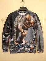LJ1091M Cartoon Animation Animal Cat Car 3d Print Pullover Hoodies Sweater Sweatshirt Loose Casual Tops M L XL Plus Size