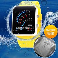 5pcs/lot free shipping SKMEI led binary watch men and women fashion watch electronic watches waterproof rubber strap watch