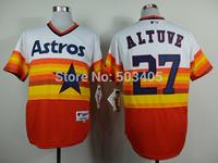 Houston Astros Jerseys #27 Jose Altuve Orange Throwback Baseball Jersey Mix Orders,Embroidery Logos