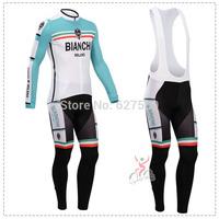 bianchi 2014 Cycling Jersey bib kit long Sleeve bib pants Cycling tight ropa Ciclismo bicycle fitness clothes MTB bicicleta bike