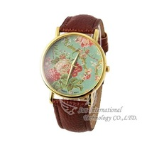 2014 New Geneva Women Dress Watch Leather Rose Quartz Watches Rose Flower Ladies  Wristwatches Fashion Wristwatches Dropship