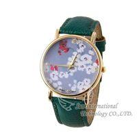 Free Shipping 2014 New Geneva Women Dress Watch Leather Flower  Quartz Watches Flower Ladies Wristwatches Fashion Wristwatches