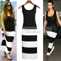 2014 Update Fashion Popular Sexy Casual White&Black Striped Patchwork Floor-Length Women Slim Sleeveless Tank Dress FreeShipping