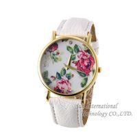 Free Shipping 2014 New Geneva Women Dress Watch Leather Rose Quartz Watches Rose Flower Ladies Wristwatches Fashion Wristwatches