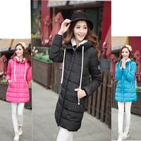2014 Fashion winter women long down jacket medium-long women duck down coats solid hooded slim outwear women parka free shipping