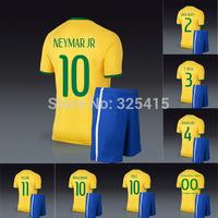 Brazil 2014 soccer jerseys and short home yellow uniforms football kit neymar pele ronaldinho marcelo oscar ronaldo silva luiz