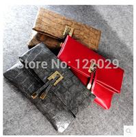 Free shipping Vintage stone envelope cultch bag PU leather women's Punk evening bag Aligator Snake patchwork shoulder bags