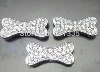 New 100pcs/lot 10mm rhinestones dog bone slide charm fit for 10mm pet dog cat tag