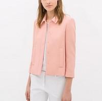 New Fashion Ladies' elegant candy colores blazer suit casual slim outwear three quarter sleeve coat brand designer tops