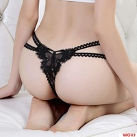 Sexy Leopard Thong Lady Butterflies Embroidered Transparent Temptation G-String Underwear Lingerie  817-A1