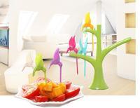 Free shipping Fruit fork plastic fruit trees + birds fork cutlery 6pcs/set New Arrival