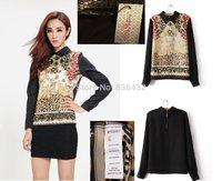 Free shipping 2014 New Autumn Women Long Sleeve Shirts Top Quality Brand Chiffon Blouse Flower Print Turn Down Collar Shirt Tops