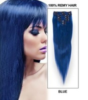 Top Quality 6A Indian Virgin Clip In Extensions 15''18''20'' 22''24'' Fashion Color #Blue Straight Clip In Human Hair Extension