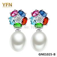 GNE1025 Genuine 925 Sterling Silver Earrings Fashion Freshwater Pearl Drop Earrings 4 Colors CZ Jewelry for Women Free Shipping