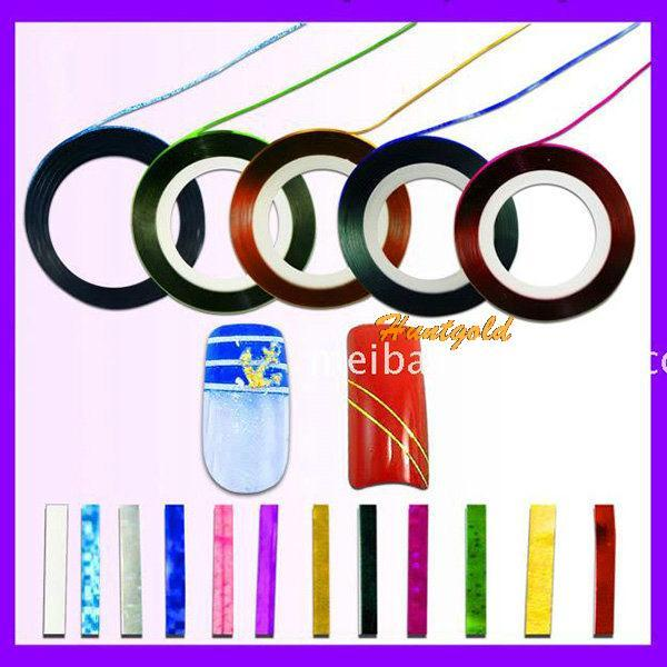 UV gel Acrylic Nail Art Strip Tape Line Tips Sticker Manicure Decal Paster Roll 7 Colors/Pack(China (Mainland))