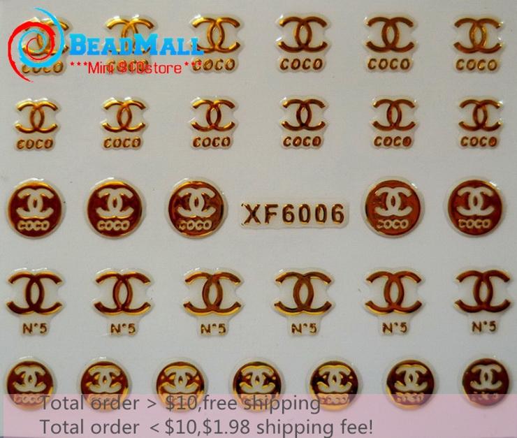Min order $10 Fashion Logo 3D Design Nail Art Nail Sticker Nail Beauty Metallic Gold Nail Art self-adhesive sticker DIY030(China (Mainland))