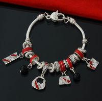 Hot sale High quality Free shipping Women Jewelry DIY Silver Bag Bracelets Trendy European Glass Beads snake chain Bangles 2800