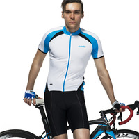 SANTIC  Men's Cycling Jersey Bike Bicycle ropa ciclismo Short Sleeve Shirts Clothing Top Reflective Breathable bianchi