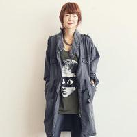 Korean Version of Fashion Casual Drawstring Waist Women Denim Windbreaker