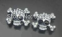 Wholesale 100pcs/lot 10mm rhinestones Skull slide charm fit for 10mm pet dog cat tag