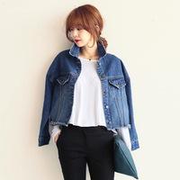 2014 Autumn New Korean Women Long-sleeved women Deckle Edge Short  Denim jacket