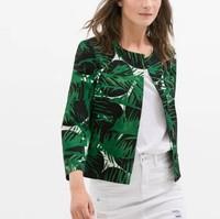 New Fashion Ladies' elegant green leaves print blazer coat casual slim outwear three quarter sleeve brand designer tops