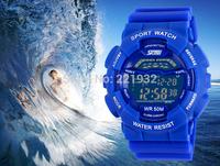 mix color 12pcs/lot Hot rubber strap sports fashion brand men's sports watch quartz watches worldwide free shipping SkmEi watch