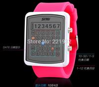 SKMEI mans waterproof led digital watches, model creativ unisex watch, women's fashion jelly lovers wristwatch 5 colors