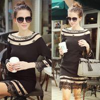 Free shipping 2014 autumn new fashion women long sleeves sheath organza dress,girl dress,sexy