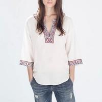 New Fashion Ladies' vintage beading embroidery white blouses V neck three quarter sleeve OL shirts casual slim  tops--H824