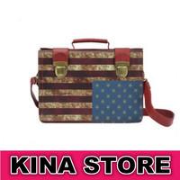 Free shipping Unisex Vintage Punk style Striped American Flag PU Versatile Shoulder Bags Handbag
