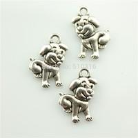 50pcs 17*12mm dog charms antique silver tone dog Pendant
