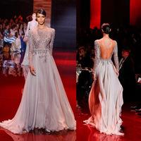 Backless Luxury Cristal Dress Party Evening Elegant Evening Dresses O-Neck Longa Beautiful Long Prom Dresses 2014 With Crystal
